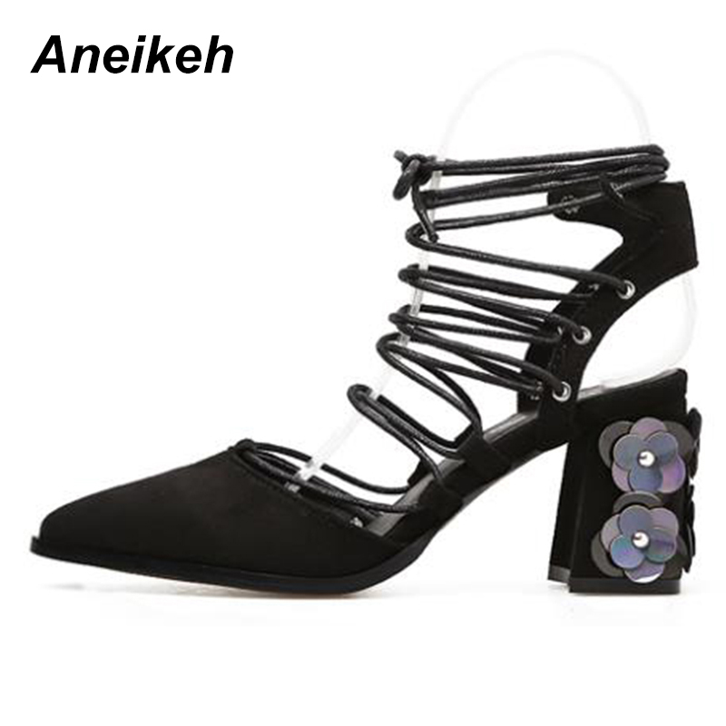 Aneikeh Sexy High Heels Shoes Women Pointed Toe Pumps Lace-Up Summer Gladiator Sandals Flowers Sequins Heel Size 35-40 Black цена 2017