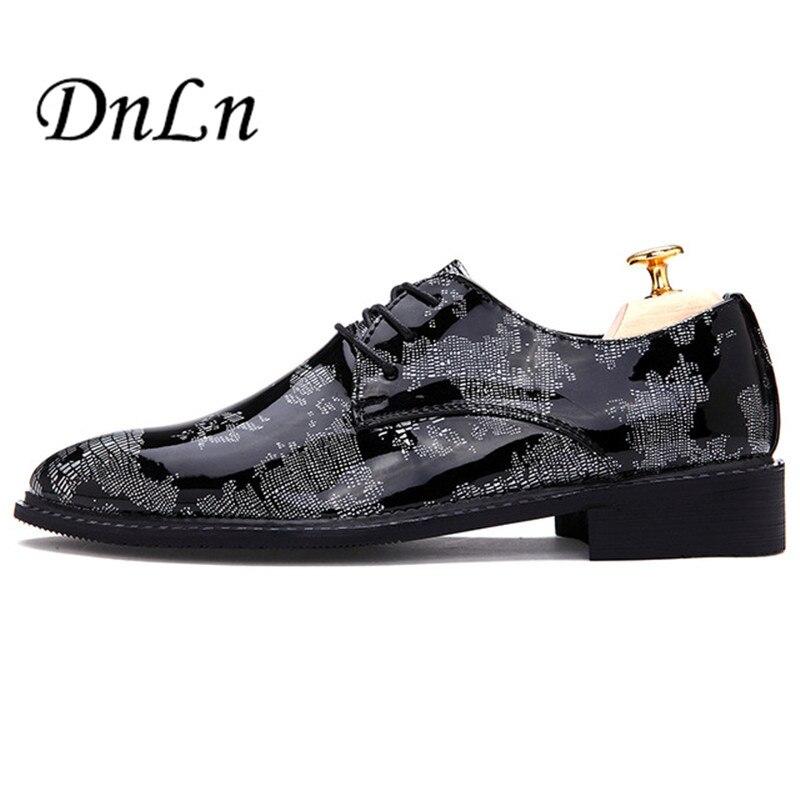 High Quality Men Black Dress Shoes Patent Leather Leisure Wedding Shoes Men Party Zapatos  F40