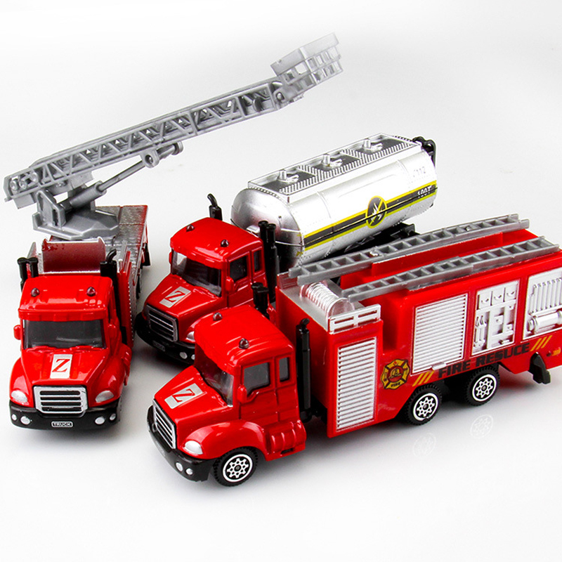 3 Pieces Set Diecasts Car Toys Vehicles Simulation Alloy Car Model Engineering Car Fire Engine Excavator Truck Toys For Boy Kids