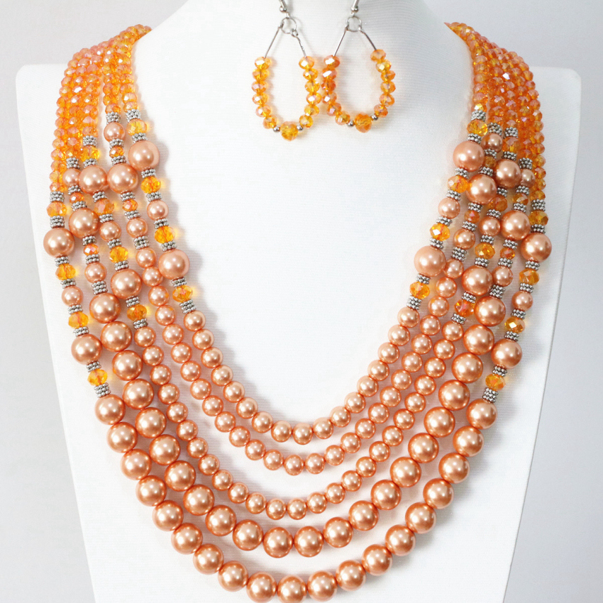 Hot sale orange 5 rows necklace earrings for women round shell faux pearl glass beads new fashion gifts jewelry set B983-17