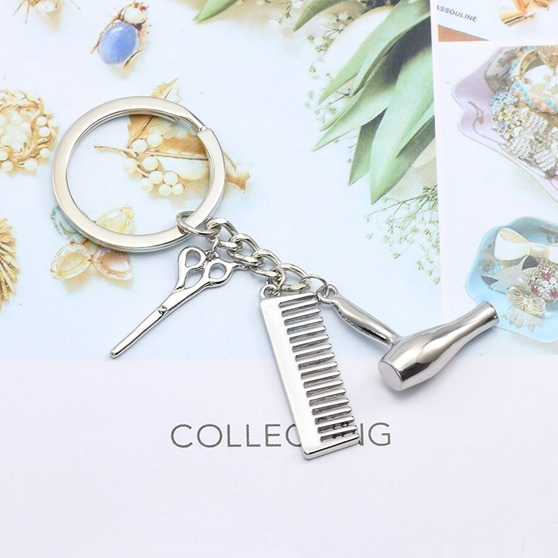 Simple Hair Tools Alloy Keychains Hairstylist Salon Graduation Gifts For Men Comb Scissors Dryer Key Ring Dropshipping