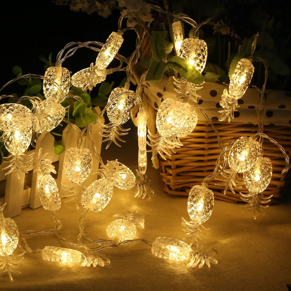 2.2M Pineapple LED Lighting Strings Fairy String Wire Light Battery Powered 20 Heads Light Garland For Wedding Party Decoration