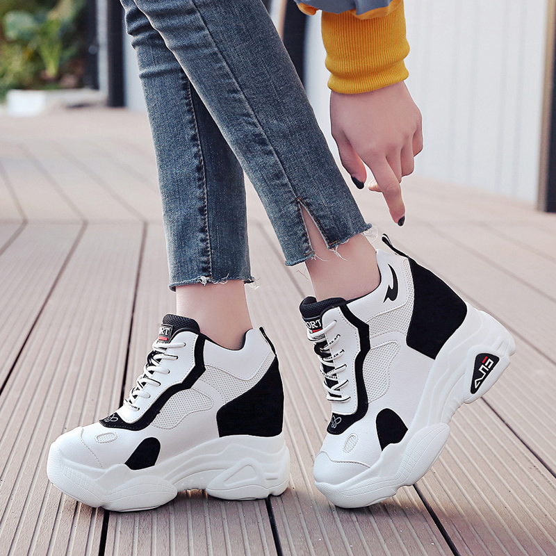 New 2019 Fashion Spring Women Sneakers Breathable Mesh Platform Wedge Heels Shoes 11CM Casual Shoes Woman Zapatillas Deportivas