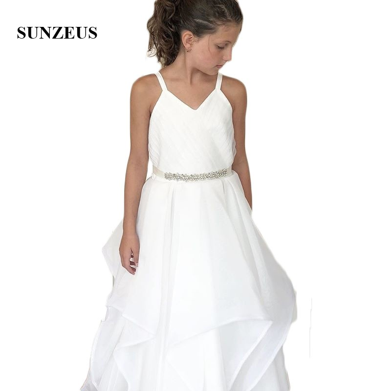 White A-Line   Flower     Girls     Dresses   Sweetheart Tank Pleats Beaded Charming First Communion   Dress   for Children vestido flores SF56