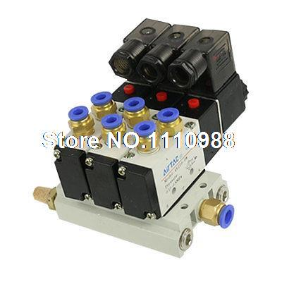 AC 220V 2 Positions 5 Way Triple Solenoid Valve Base 6mm Quick Fittings Mufflers 1 8 inch airtac 4v110 06 5 way triple solenoid valve connected mufflers base 6mm 8mm quick fittings set dc 12v 24v ac 110v 220v