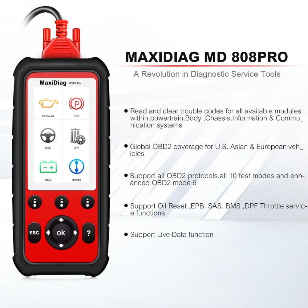 Autel Maxidiag MD808 про все Системы Diagnsotic инструмент OBDII сканер Поддержка BMS/масло сброс/SR/EPB/ DPF best ручной автоматический сканер
