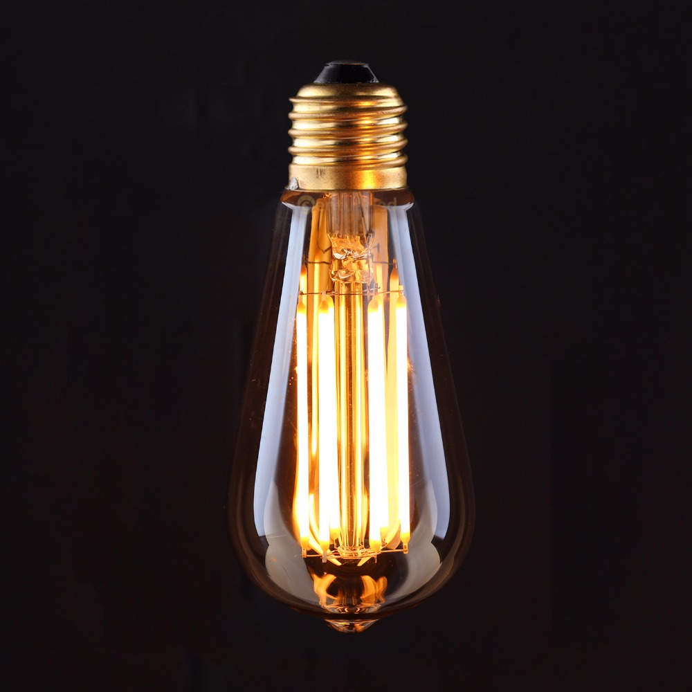 Vintage Dimmable LED Filament Bulb Edison ST64 Golden Pear LED Light,4W 6W 2200K,E26 E27 Base Retro Decorative Lamp