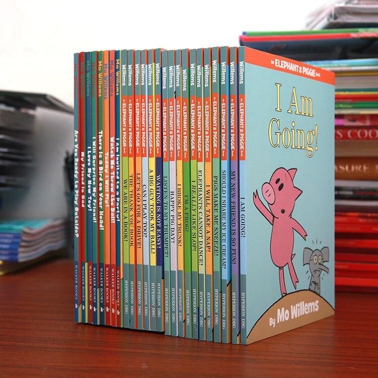 25 книг/набор слон и поросенок книга детская эквалайзер образование английский картинка дети история книги учим английский