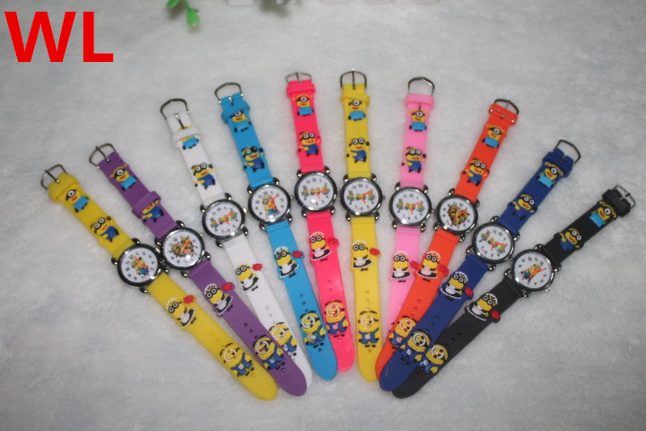 15 Pieces/lot Mixed Wholesales Cartoon Minions Watch For Children Birthday Christmas Gifts Clock Quartz Silicone Wristwatches