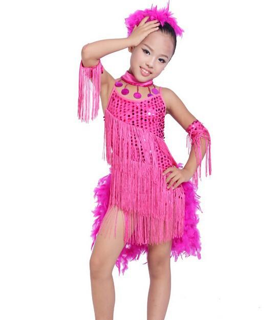 DB23553 fringe feather sequin latin dance dress-2