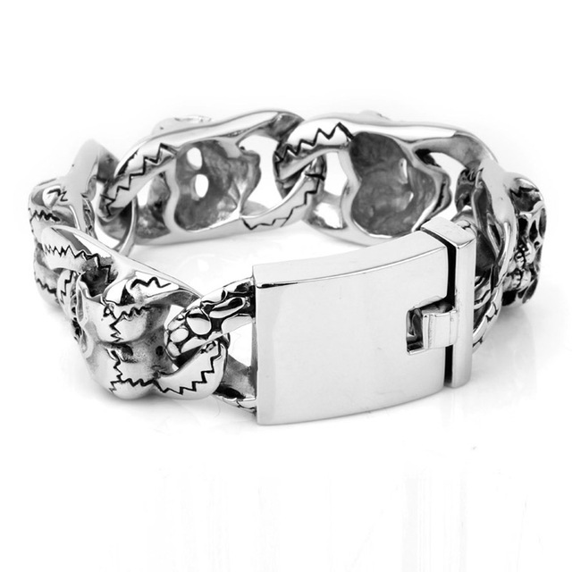 beautiful designs and patterns UK style silver color titanium steel  big heavy bracelets for men