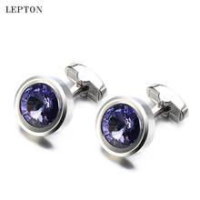 Роскошные пурпурные запонки с кристаллами для мужчин бриллиантовые