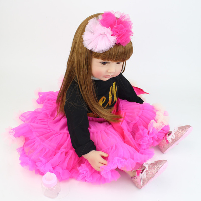 60cm Silicone Vinyl Reborn Baby Doll Toys For Girl Exquisite Princess Toddler Alive Babies Child Birthday