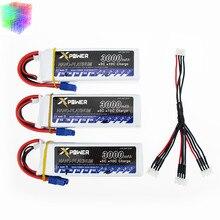 Lipo batterie 11.1 v 3 s 3000 mAh 30C max 35C EC3 fiche 3 pcs Xpower batteries avec câble pour RC drone Helicoptes Avion pièces