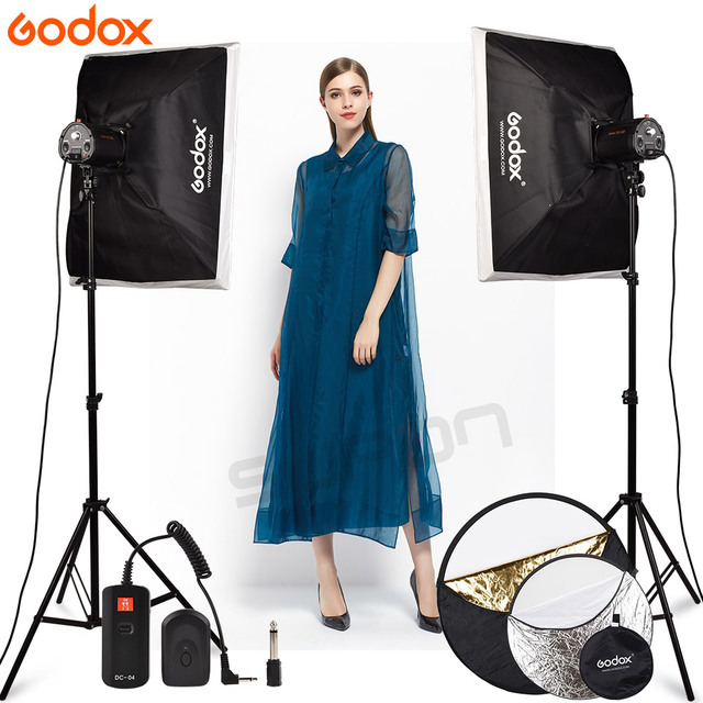 GODOX fotografia Studio Light 2X160Ws 160DI Video Strobe Flash Light With DC-04 Flash trigger with Softbox 160DI Kit LED Lamp