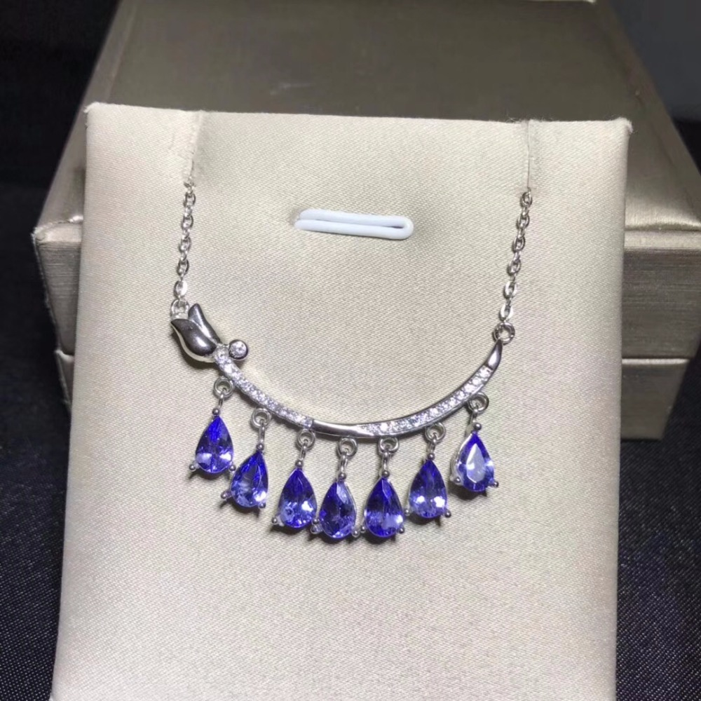 Natural tanzanite necklace blue gemstone sterling silver heart shaped style super beautiful