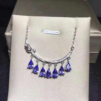 Natural tanzanite necklace, blue gemstone, sterling silver, heart-shaped style, super beautiful - DISCOUNT ITEM  25% OFF All Category