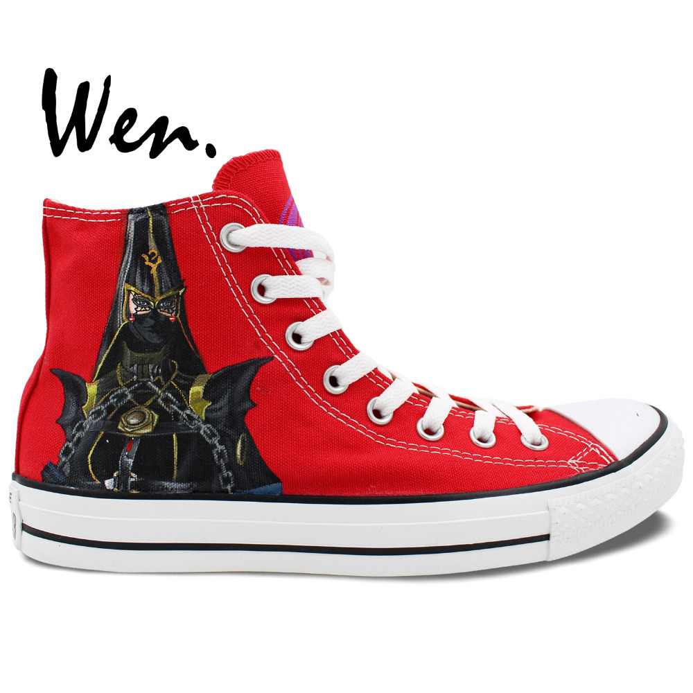 Wen Red Hand Painted Shoes Design Custom Bayonetta And Rosa Women Men's High Top Canvas Sneakers for Gifts
