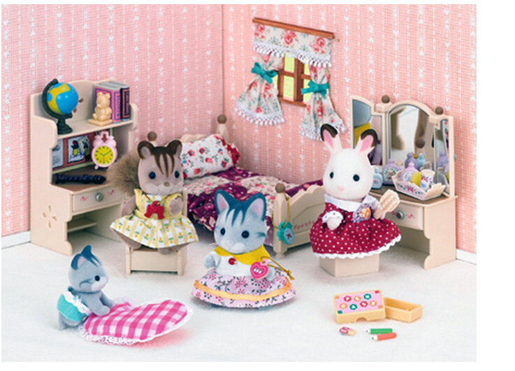 Genuine Sylvanian Families Girls Bedroom Set Miniature Dollhouse Furniture  Sisteru0027s Room