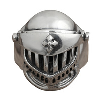 Vintage 925 Sterling Silver Mens Ring Skull Helmet Armor Ring Personality Fine Jewelry Handmade