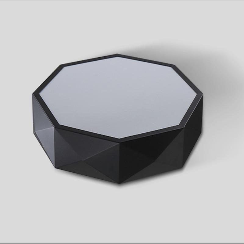 White Acrylic Led Ceiling Light Fixture Flush Mount Lamp: Modern Geometry White Black Acrylic LED Ceiling Lamp Drum