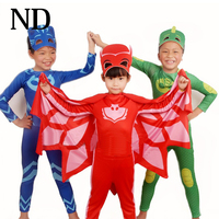 2017 New PJ Mask Birthdays Cosplay Costume Kids Second Skin Tight Suit Spandex Kids Catboy Owlette