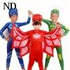 2017 New PJ Mask Birthdays Cosplay Costume Kids Second Skin Tight Suit Spandex Kids Catboy Owlette