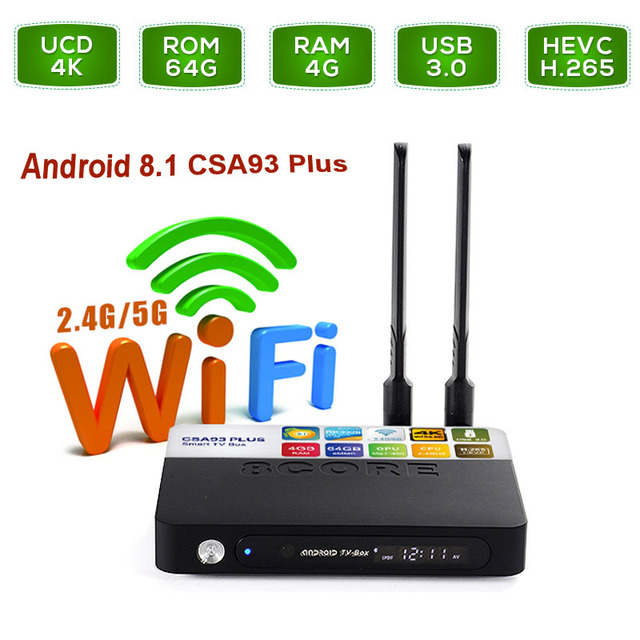 US $261 32 |Newest CSA93 Plus Android 8 1 TV Box RK3328 Quad Core Dual Wifi  2 4G/5 8Ghz 3D Bluetooth Smart Media Player USB 3 0 HD Netflix-in Set-top