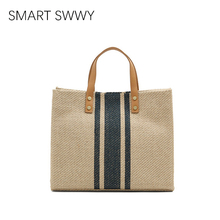 Bags for Women 2019 Summer New Women's Handbag Large-capacity square canvas big bag Striped simplicity Crossbody Tote Bag цена 2017