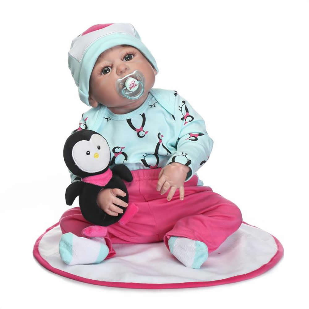 23'' Full Silicone Vinyl Reborn Baby Doll with Pink Pants Cute Lifelike Girl Boneca Dolls For Children Can Bathe Birthday Gifts cute elephant style baby polyester music box doll blue orange pink