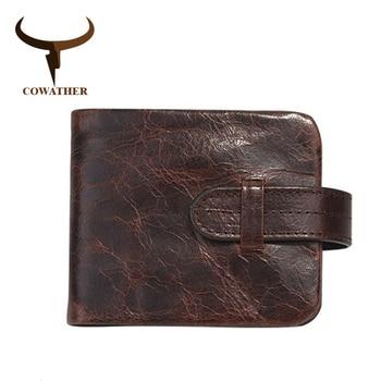 Men Wallets 100% TOP Cow Genuine by COWATHER luxury leather high quality 2017 men purse vintage designer male purse original brand 1