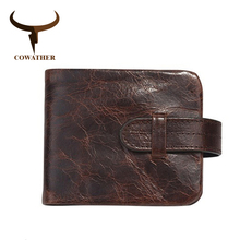 Cowather carteiras masculinas, 100% top, de couro genuíno, de alta qualidade, vintage, designer masculino, 2019