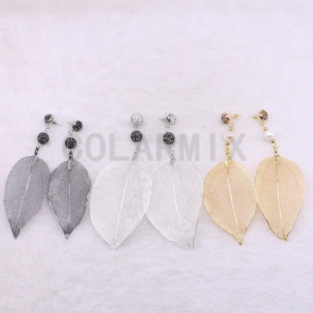 Natural leaf shape earrings link natural stone long fashion soft earrings long leaf shape Hook earrings3503