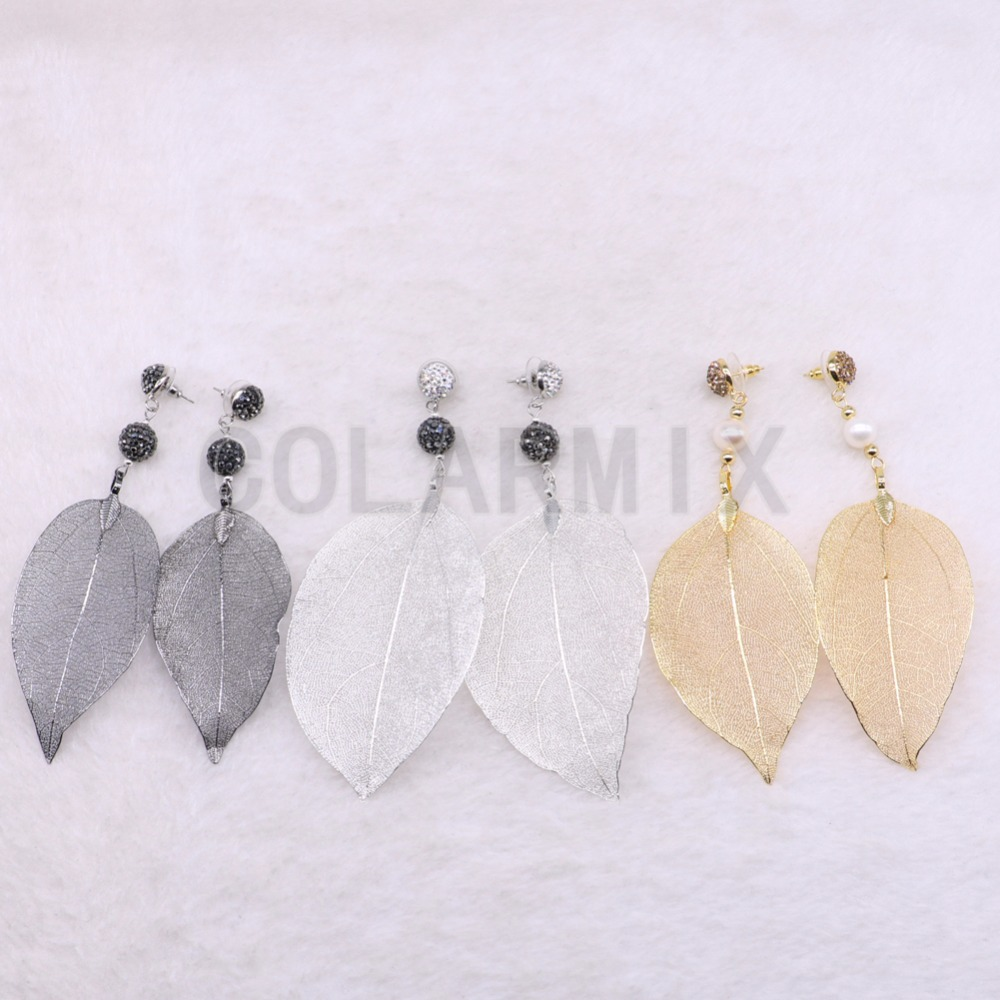 Natural leaf shape earrings link natural stone long fashion soft earrings long leaf shape Hook earrings3503-in Drop Earrings from Jewelry & Accessories    1