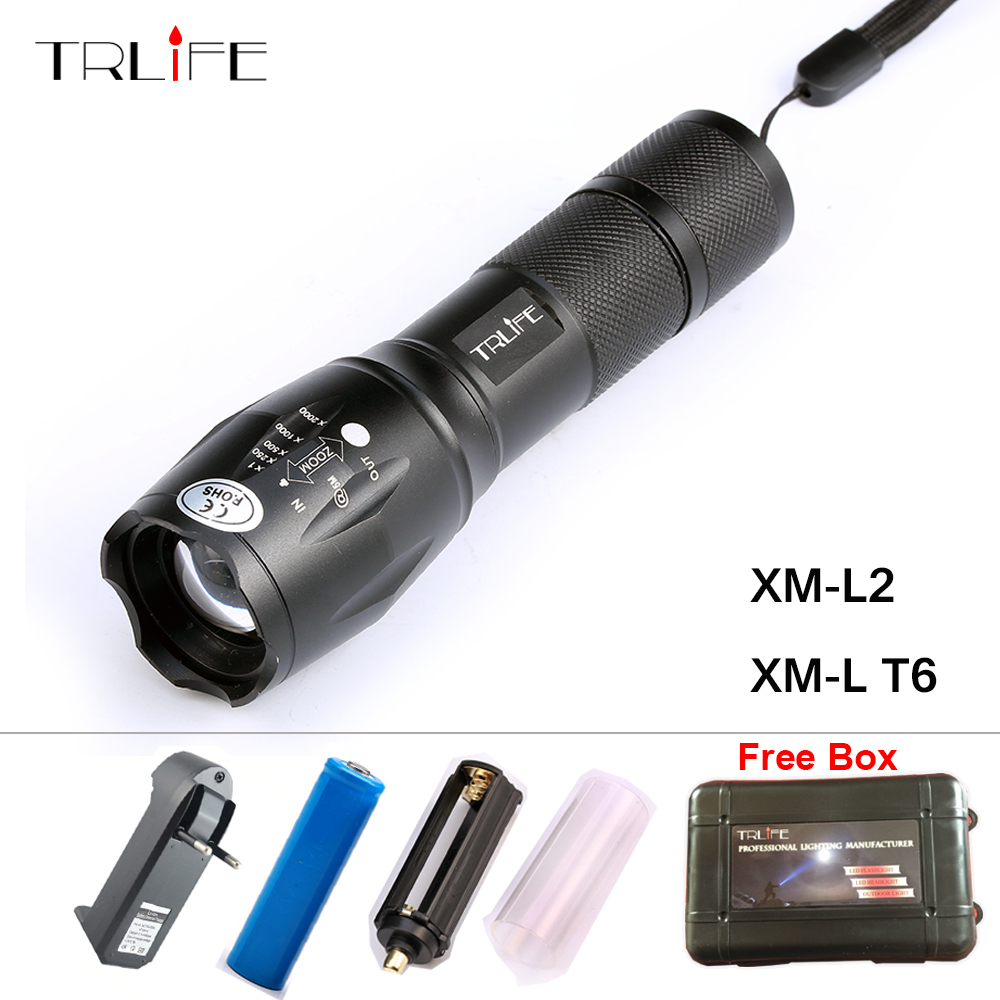 New CREE XM- L2 LED 6000LM Aluminum LED Torch Zoom LED Flashlight Tactical Torch Light +DC/Car Charger+1*18650 Battery + Charger