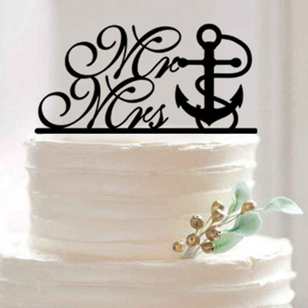 Wedding Cake Topper Tied the Knot Anchor Nautical Beach Wedding ...