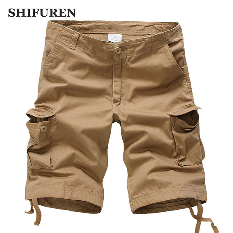 SHIFUREN 2018 Summer Men Casual Cotton Baggy Shorts Loose Fit Multi-pocket Knee Length Cotton Male Beach Shorts Big Size 30-44