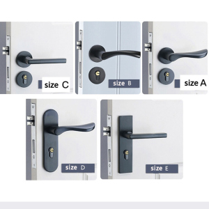 Image 5 - Bedroom Door Lock with door handle Black door lock Continental Wooden interior Door Handles Lock for home