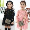 Primavera outono 2017 crianças vestido para a menina crianças roupas infantis vestido de renda manga comprida vestidos estrela impressão ocasional