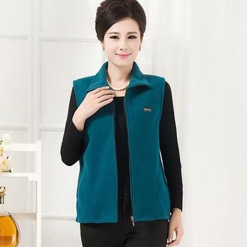 Women fleece vest female autumn and winter middle-aged mother loaded fleece vest large size