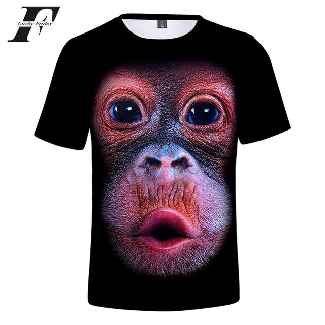 99a71038e2c LUCKYFRIDAYF 2018 New summer Men s animal T-Shirt orangutan gas monkey Wolf  3D Printed T-Shirts Men Funny tees tops tee shirt