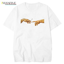 IMANFIVE MICHELANGELO T Shirts Men Harajuku Tshirt Men Funny Print Hip Hop T-shirt Cotton Streetwear Casual Tee Shirt Homme Tops майка print bar michelangelo