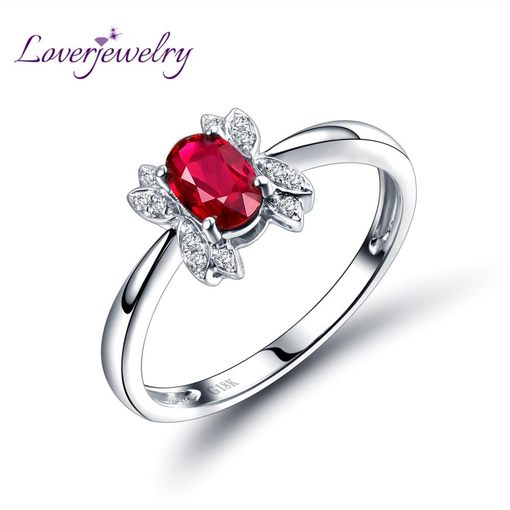 Baru Red Ruby Ring 18 K Putih Gold Natural Cincin Kunci Pas Only Crv Satin Finished Tomeco 13m M Oval 4x6mm Berlian Perhiasan Wu291