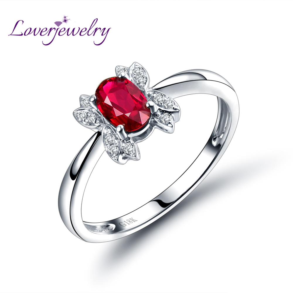 Red Ruby Ring 18k White Gold Natural Ruby Ring Oval 4x6mm Diamond