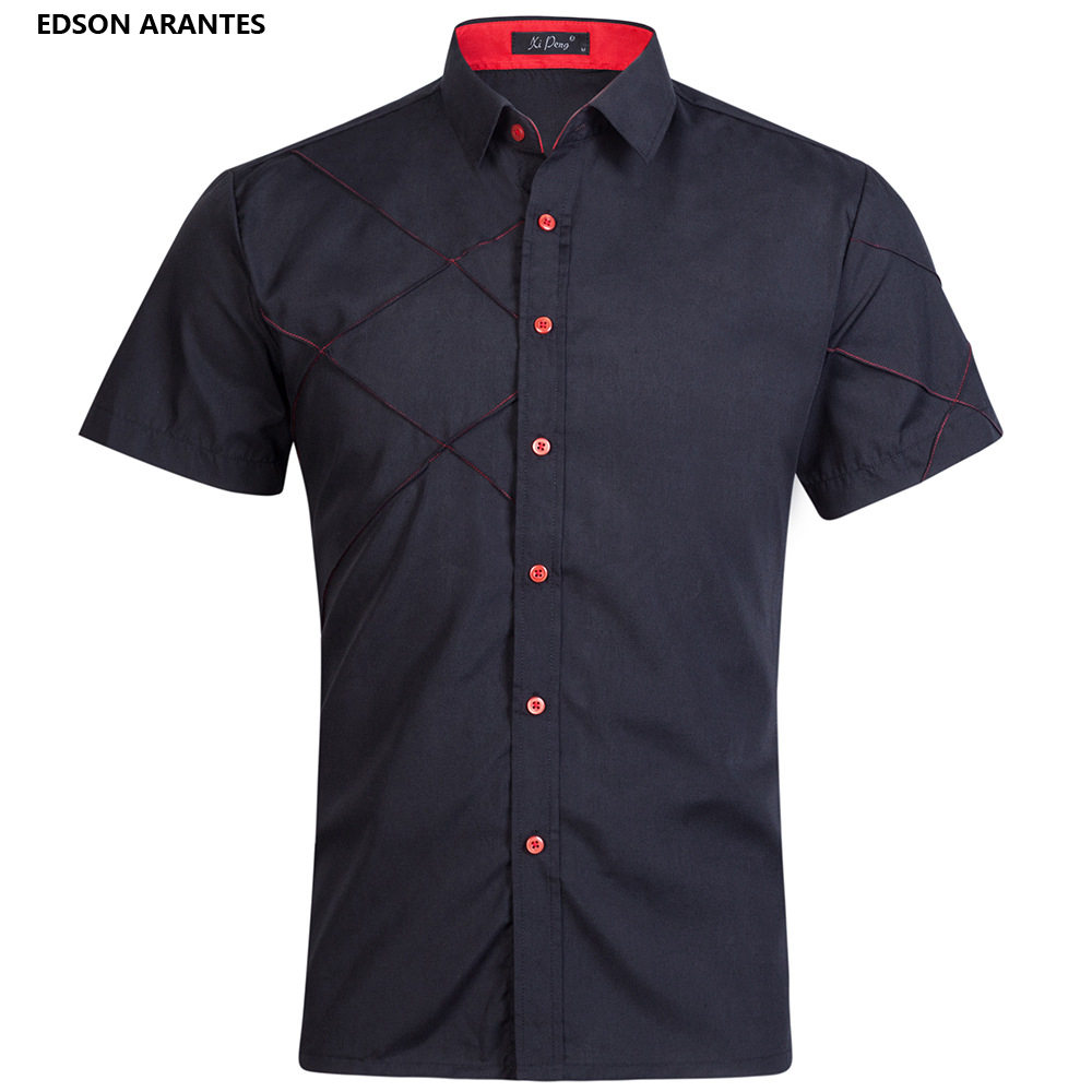 58701fb58e2e EDSON ARANTES Brand Male Shirt New Summer Shirt Men Striped Shirt Short  Sleeve Casual Slim Fit