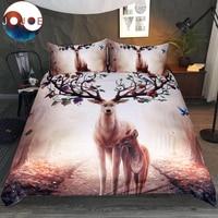 Seasons Change by JoJoesArt Bedding Set Floral Deer Duvet Cover With Pillowcase Elk Bed Set 3 Piece Maternal Love Bedclothes