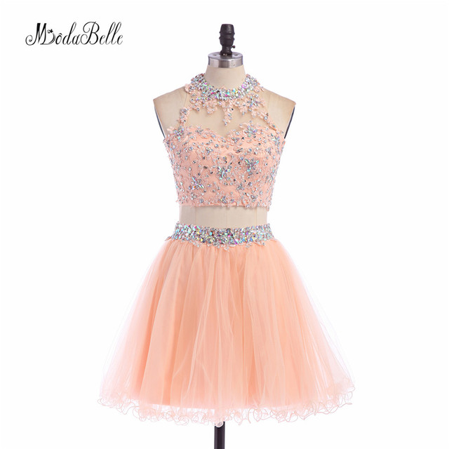 0e933377c4fb modabelle Cute Peach Coral Homecoming Dress Two Piece Crop Top Beaded Short  Prom Dresses For Teens Customize Party Dress 2017