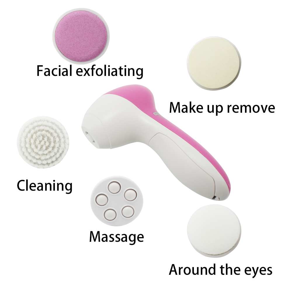 Deep Clean 5 In 1 Electric Facial Cleaner Face Skin Care Brush Mini Skin Clean Beauty Massager 5 in 1 electric facial cleanser face skin care set cleansing brush massager pore cleaner deep clean remove black spots