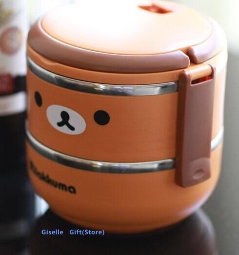 Kawaii Rilakkuma Bear 2 Layer Stainless Steel Food Storage Box Kids