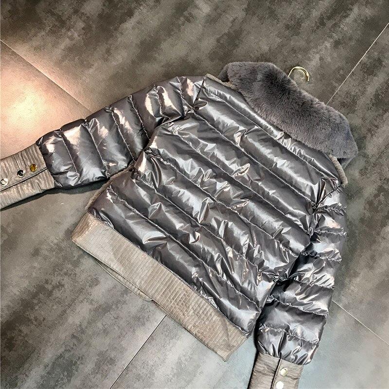 D'hiver Manteau Fourrure Col Courte Femmes Coton Couleur Femelle De Black Chaud Splice 2018 Veste Moutons gray Vestes Mode khaki L548 Cisaillé Solide qtxzFwCE